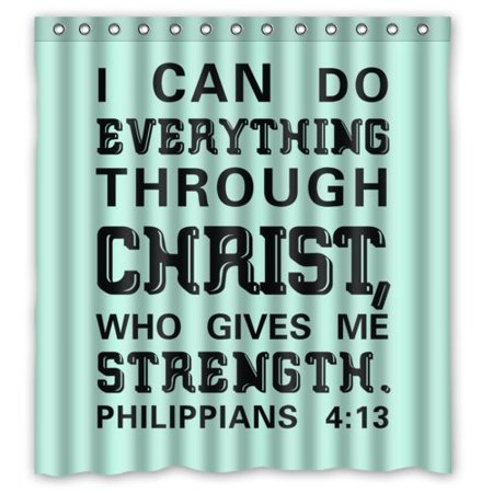 GreenDecor Bible Verse I Can Do All Things Through Christ Who Strengthens Me Philippians Waterproof Shower Curtain Set with Hooks Bathroom Accessories Size 66x72 inches (Help Me Shower Curtain)