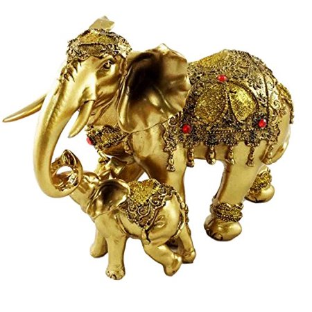 Noble Golden Decorated Elephant Embracing Calf Buddha Figurine Sculpture