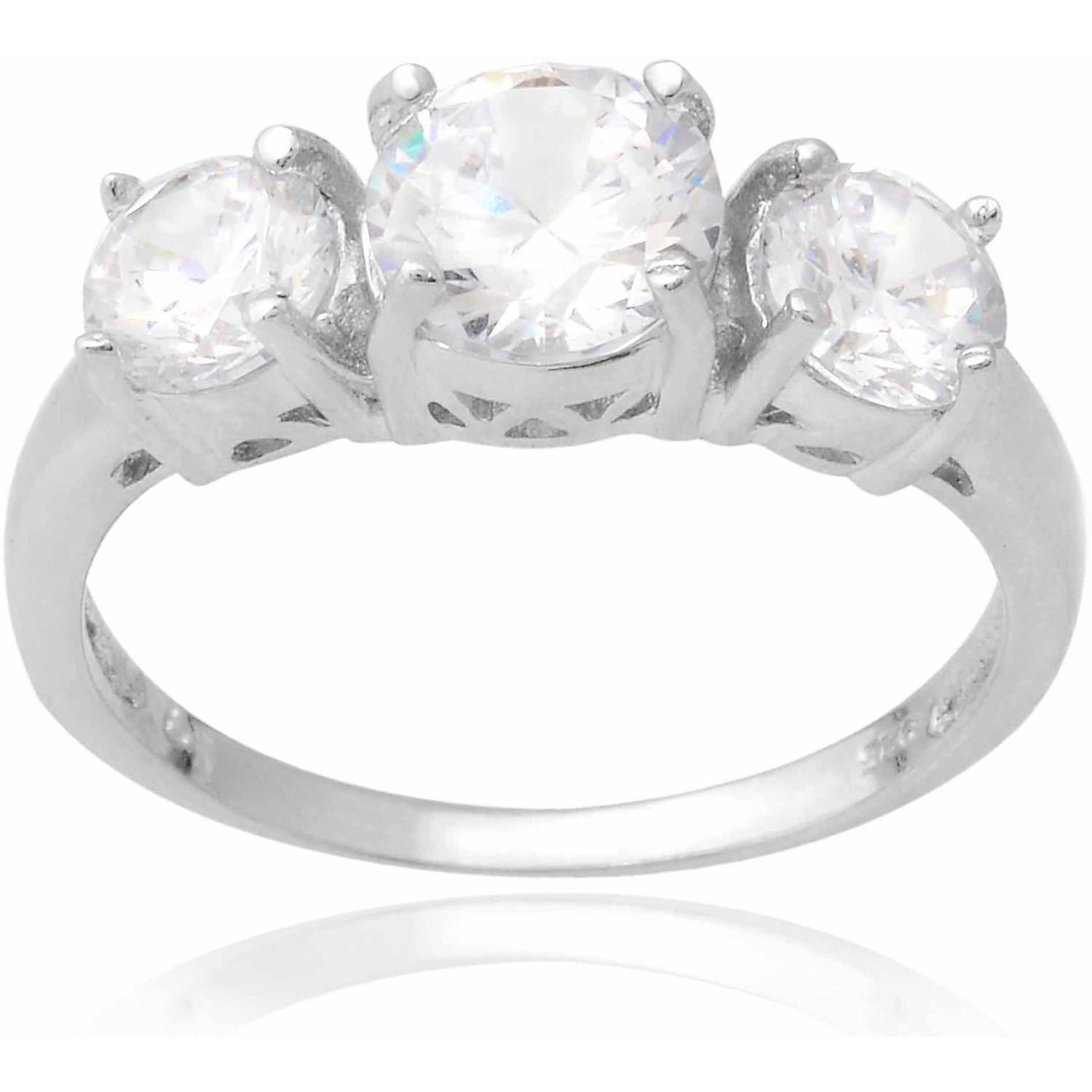 Alexandria Collection Women's 3-Stone CZ Sterling Silver Engagement Ring