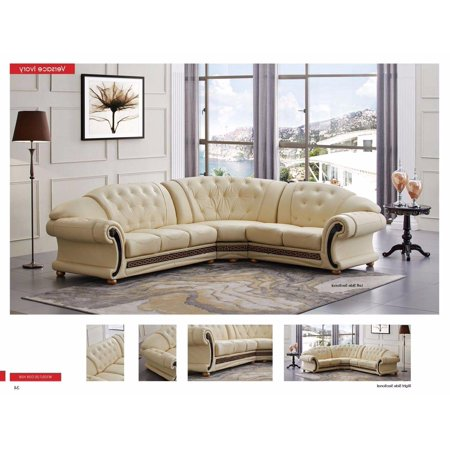 ESF Versachi Classic Luxury Ivory Leather Sectional Sofa Right Hand ...