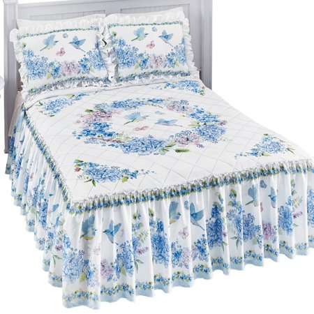 Bird Floral Wreath Bedspread with Ruffled Skirt and White Background - Features Colors of Blue, Pink, and Green, Queen,
