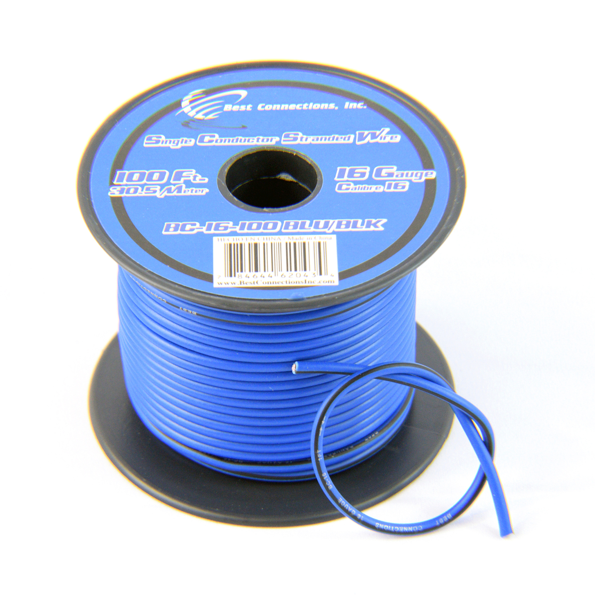 16 Gauge Blue with Black Stripe Tracer Wire - 100' FT