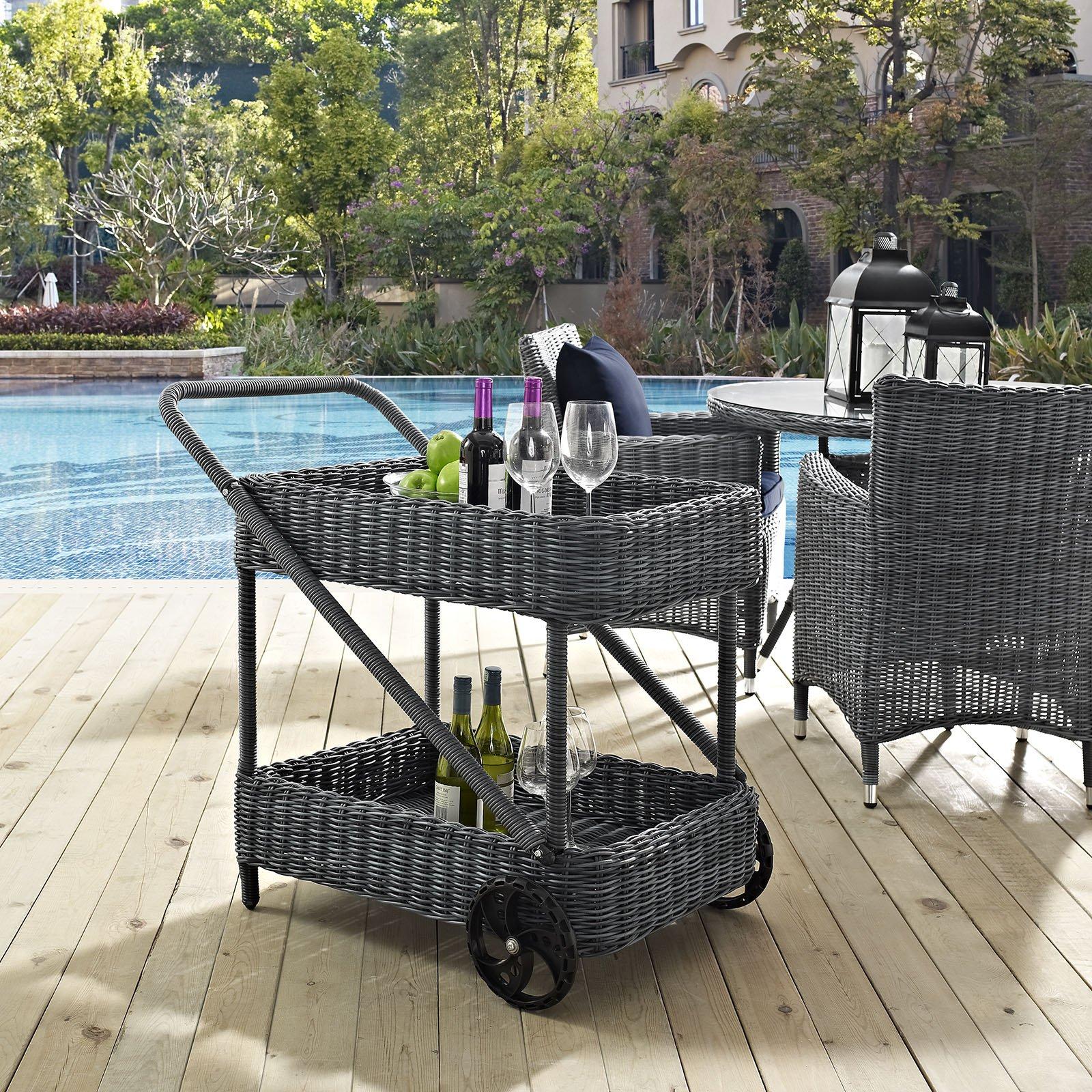 Modway Summon Outdoor Patio Rattan Weave Beverage Cart in Gray