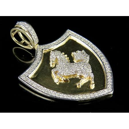 0.625' Team Logo Pendant (10K Yellow Gold Ferrari Logo Horse Shield Genuine Diamond Pendant Charm 1Ct 1.5