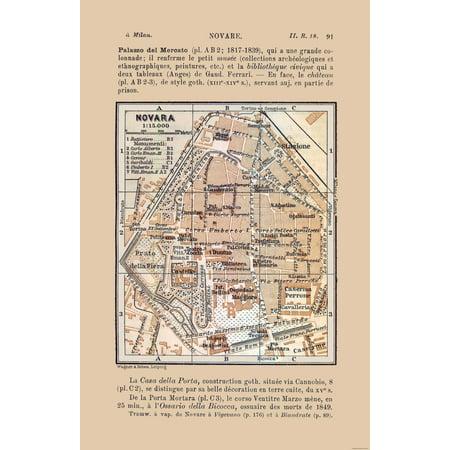 Novara Italy Map.International Map Novara Italy Bertarelli 1914 23 X 35 65