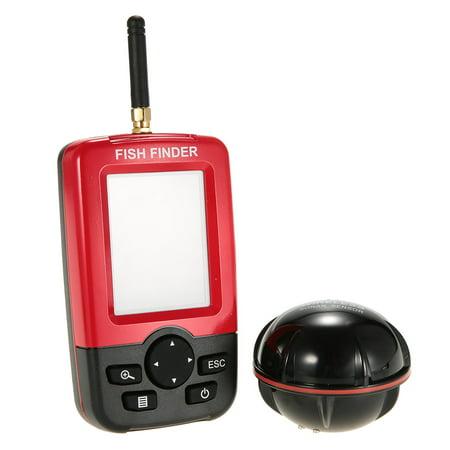 Lixada Portable Color LCD Fish Finder Wireless Sonar Sensor Transducer Fishfinder Fish Alarm Depth Locator Fishing Equipment with LED