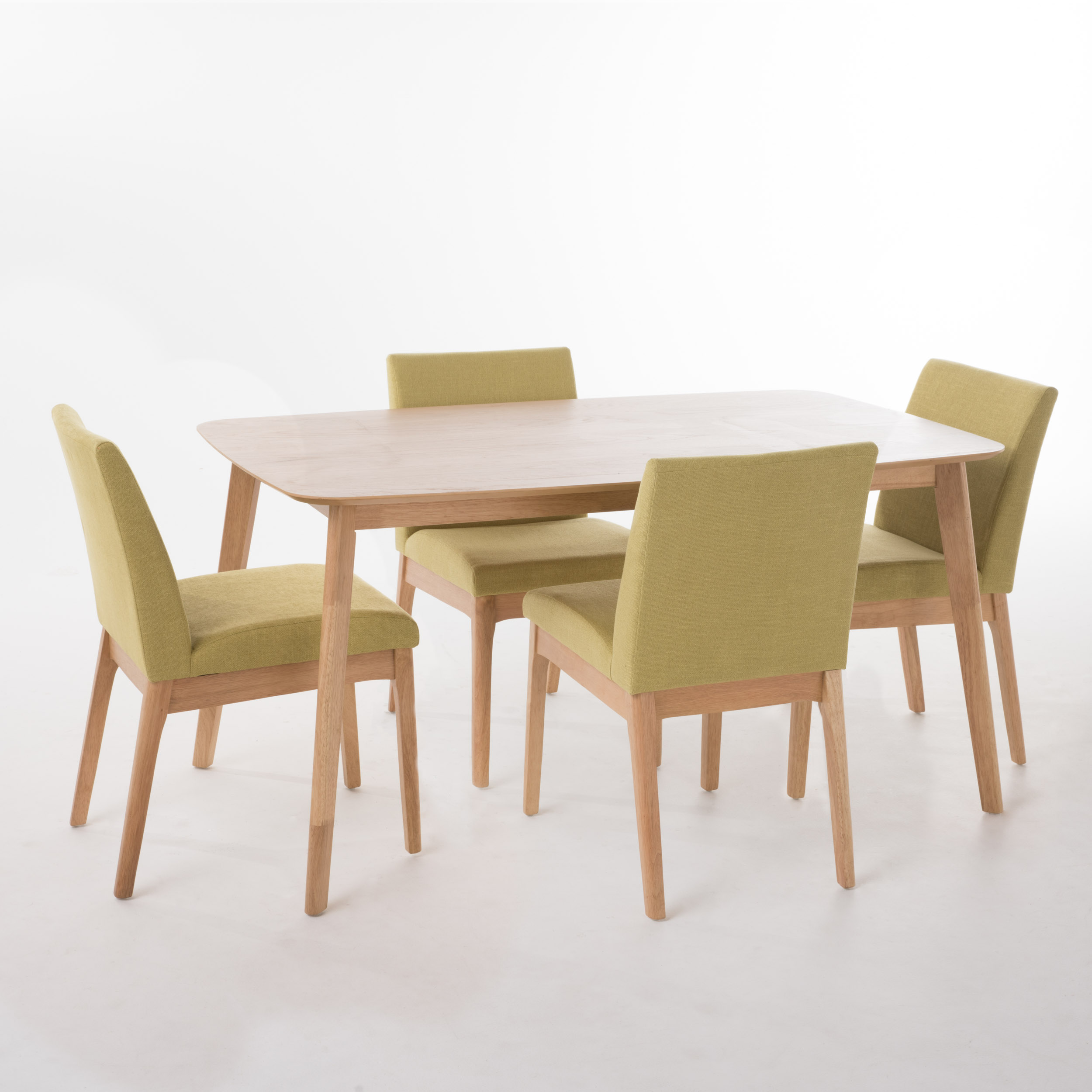 "Kwame Natural Oak Finish 60"" Rectangular 5 Piece Dining Set, Green Tea Fabric"