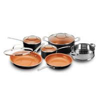 Gotham Steel 10-Piece Copper Nonstick Cookware Set, Black