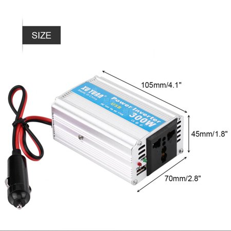 WALFRONT Silver 300W DC 12V to AC 110V Car Power Inverter Converter USB Charger Adapter,12V to 110V Power Inverter,Car Power Inverter - image 1 of 7