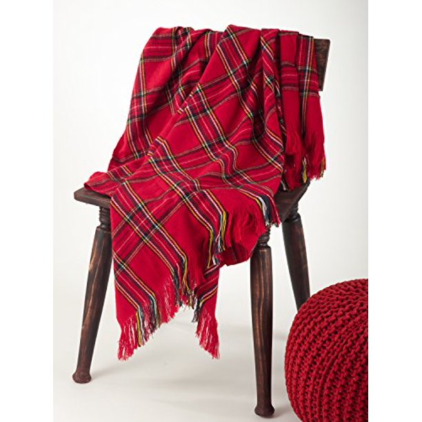 "Classic Red Plaid Design Throw Blanket, 50""x60"""