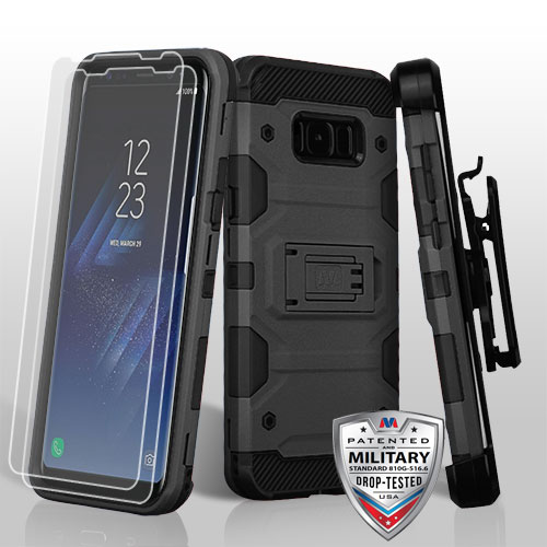 MyBat 3-in-1 Storm Tank Hybrid Holster Combo Case For Samsung Galaxy S8 - Rose Gold/Black (with 360 Degree Rotary Belt Clip & Kickstand & 2 pcs Protector)[Military-Grade]
