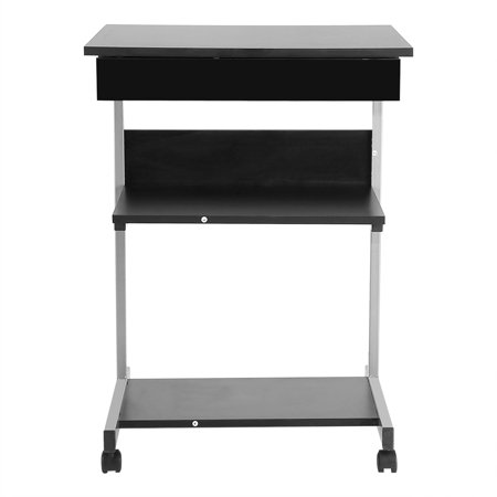 Mobile Work Table (TOPINCN Portable Modern Wooden Rolling Mobile Standing Computer Laptop Home Office Workstation Desk, Mobile Computer Table, Wooden Computer Table)