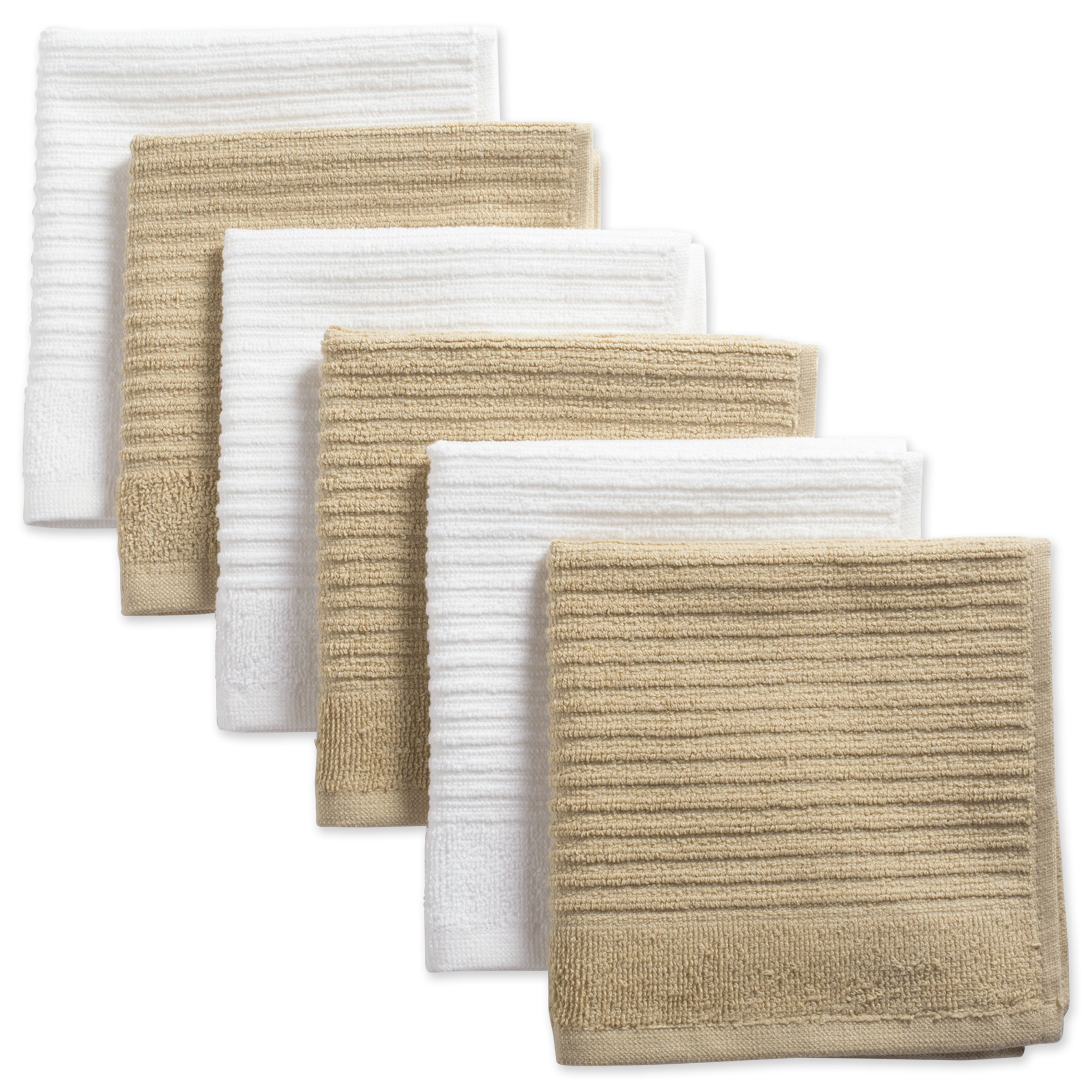 "Design Imports Assorted Ribbed Terry Dishcloth Set, Set of 6, 12""x12"", 100% Cotton, Multiple Colors"
