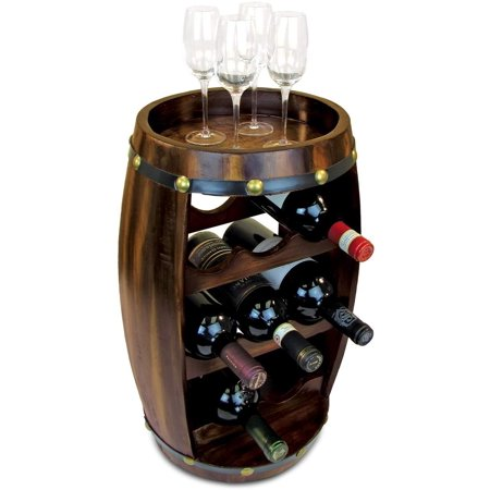 Puzzled Alexander Wine Rack 8 Bottle Free Standing Wine holder Bottle Rack Floor Stand Or Countertop Wine Wooden Barrel Decor Storage Organizer Liquor Display To Decorate Home Kitchen Bar Accessory ()