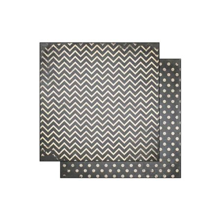 Bo Bunny Double Dot Paper 12x12 Chevron Charcoal (pack of 25) - Chevron Cardstock