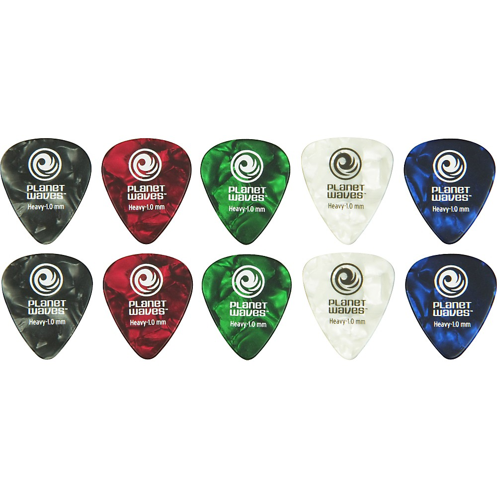 D'Addario Planet Waves Standard Celluloid Pearl Picks Assorted 10-Pack Heavy
