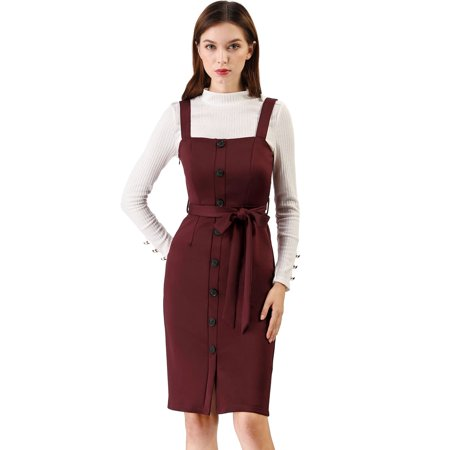 Women's Button Decor Strap Sheath Suspender Overall Jumper Dress Burgundy XL (US 18) ()