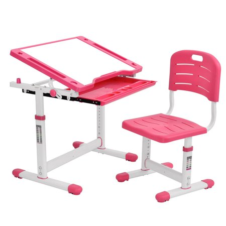 Hemousy Kids Desk Children Writing Student Desk Drafting Table Height Adjustable Study Table and Chair with Drawers Storage - Pink
