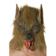 """35"""" Brown and Black Men Adult Halloween Wolf Mask Costume Accessory - One Size"""