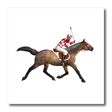 3dRose Racing Horse and Jockey from The Side - Quilt Square, 6 by 6-inch