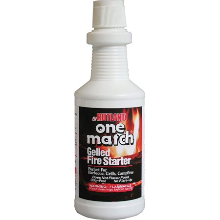 One Match Gel Fire Starter, 32 fl. oz. (Package may vary), Perfect for lighting: Barbeque grills, smokers, wood, cool, and pellet stoves or fireplaces and fire pits By Rutland