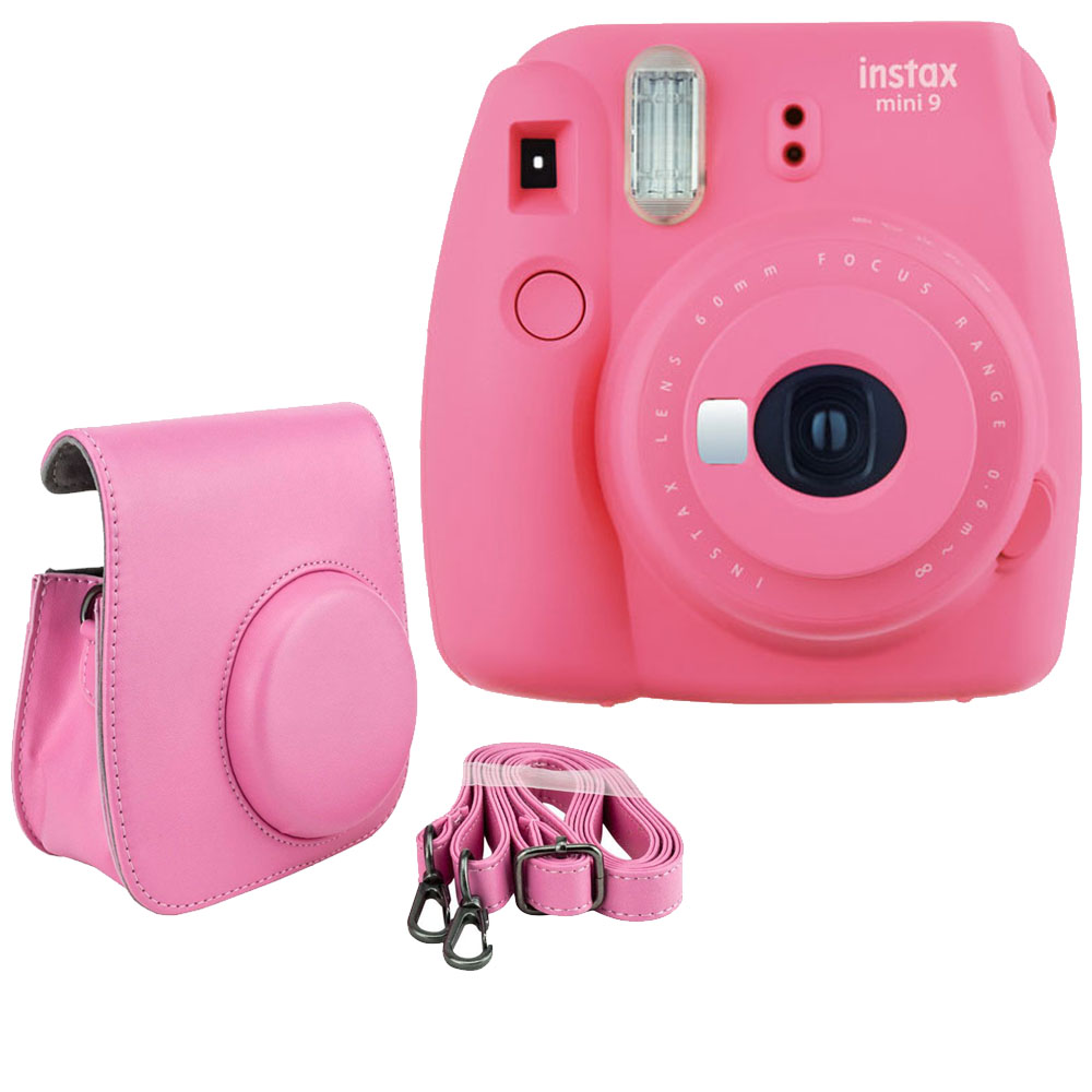 Basic Kit! Camera + Case Fujifilm Instax Mini 9 Flamingo Pink Film Camera + Pink Matching Bag – Camera/Accessories