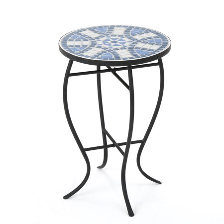 Harington Outdoor Ceramic Tile Side Table with Iron Frame, Blue and White ()