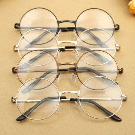 130ca4a5638 Fashion Vintage Retro Round Circle Metal Frame Eyeglasses Clear Lens Eye  Glasses Unisex Boy Girl Men Women - Walmart.com