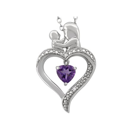 Amethyst Diamond Accent Sterling Silver Mother and Child Open Heart Pendant, (February Birthstone Heart Charm)