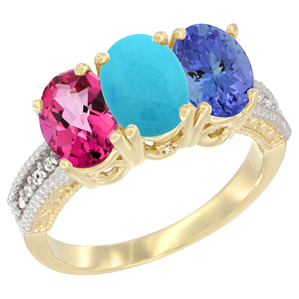 10K Yellow Gold Diamond Natural Pink Topaz, Turquoise & Tanzanite Ring 3-Stone 7x5 mm Oval, sizes 5 10 by WorldJewels