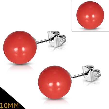 10mm Stainless Steel Red Coral Resin Faux Pearl Bead Ball Stud Earrings pair