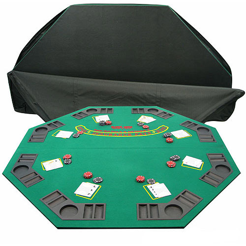 Trademark Poker Solid Wood 2 Fold Poker/Blackjack Tabletop, Single Sided