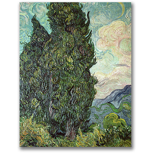 "Trademark Fine Art ""Cypresses, 1889"" Canvas Wall Art by Vincent van Gogh"