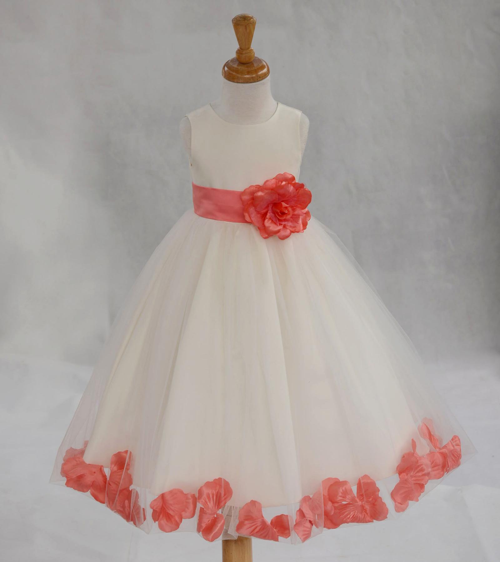 Coral Rose Petal Dress White Satin Tulle Flower Girl Wedding Summer Easter#24