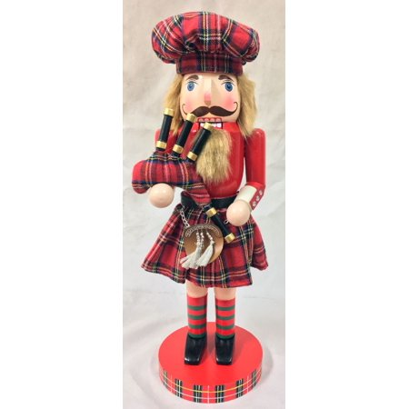 Scottish Bagpiper Wearing Kilt Wooden Christmas Nutcracker Decoration 14 Inch