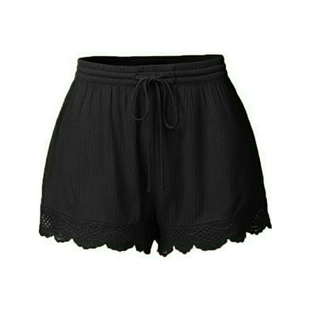 DYMADE Women's Summer Casual Shorts Lace Beach Hot Shorts Basic Elastic Drawstring Waist -