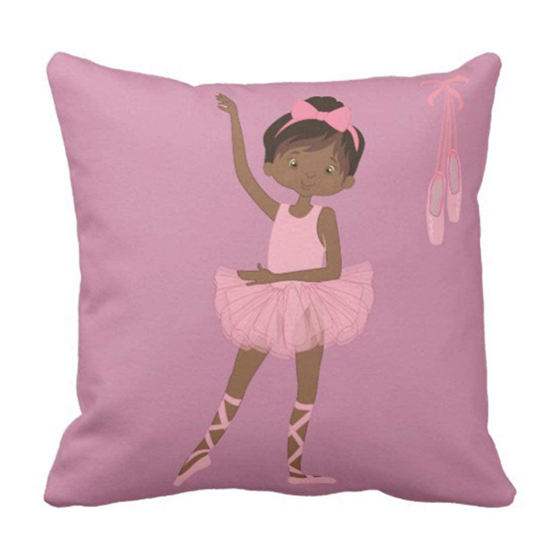 BPBOP Pink Ballet Lavender African Ballerina Purple Tutu Pillowcase Cushion Cover 20x20 inches