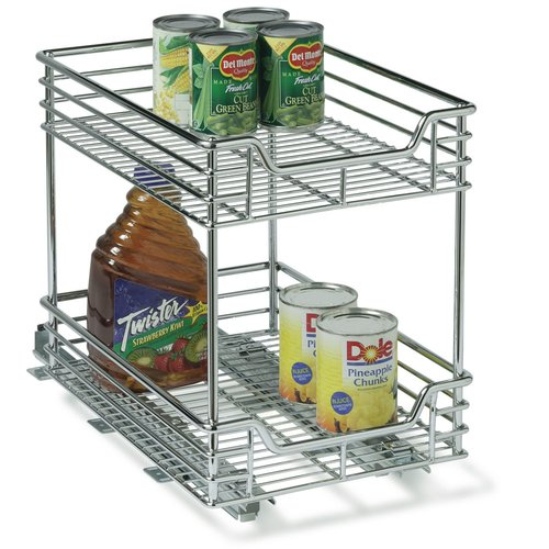 Household Essentials C21217-1 11.5 inch Two Tier Sliding Organizer- KD Chrome