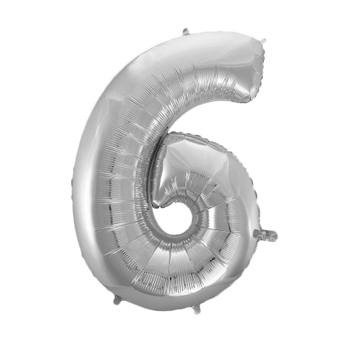 "Unique Bargains Foil Number 6 Shape Helium Balloon Birthday Wedding Decor Silver Tone 30"""
