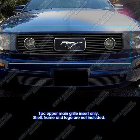 Fits 2005-2009 Ford Mustang V6 Only Fit Pony Package Black Billet Grille (2007 Ford Mustang V6 Pony Package Review)