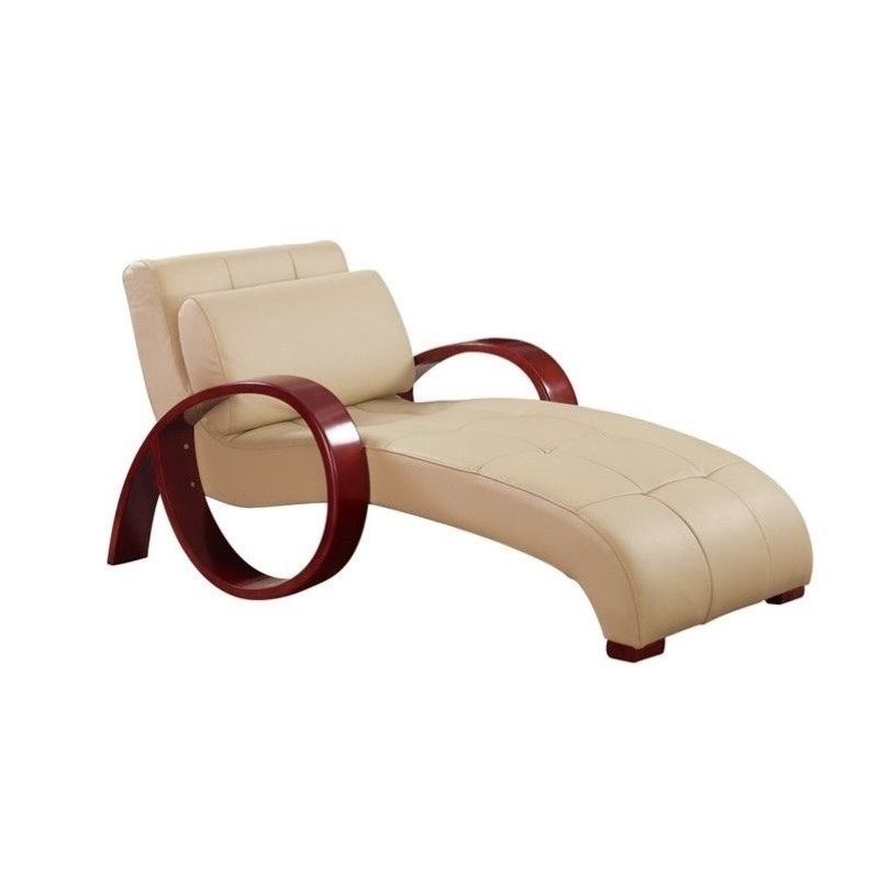 Global Furniture USA Leather Chaise Lounge in Cappuccino Walmart