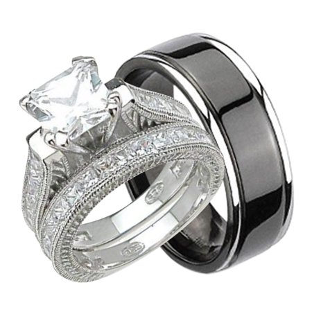 his and hers wedding ring set matching trio wedding bands for him black plated titanium and her sterling silver 513 choose sizes walmartcom - His And Hers Wedding Rings Sets