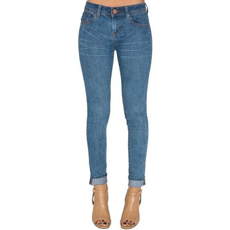 Five Pocket Plus Size Jeans (S&P Junior Women Stretch Denim Skinny Jeans Medium Blue 5 Pocket Wash Plus Size Long Length Available)
