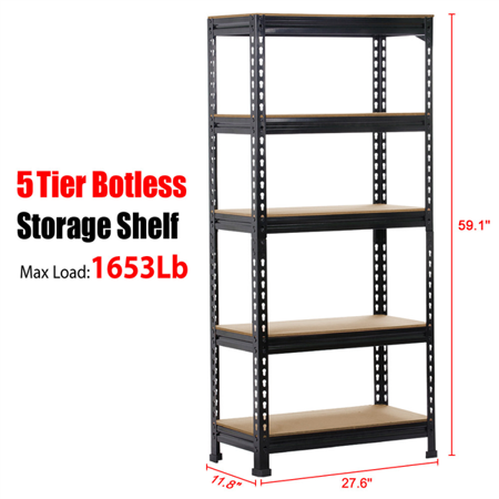 5 Tier Storage Rack Heavy Duty Shelf Steel Shelving Unit,27.6 x 11.8 x 59.1