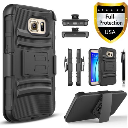 Galaxy S7 Edge Case, Dual Layers [Combo Holster] Case And Built-In Kickstand Bundled with Circlemalls Stylus Pen
