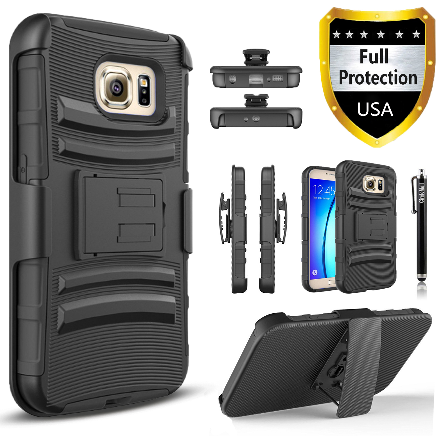 Galaxy S7 Edge Case, Dual Layers [Combo Holster] Case And Built-In Kickstand Bundled with Circlemalls Stylus Pen (Black)