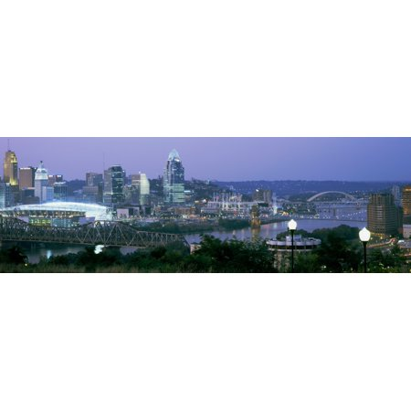 Skyscrapers in a city at dusk Cincinnati Ohio USA Canvas Art - Panoramic Images (6 x 18)](City Of Parma Ohio Halloween)
