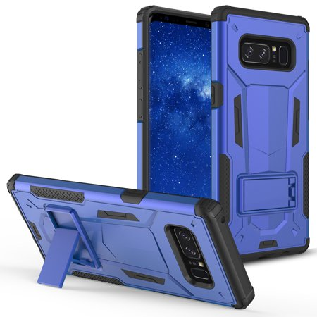 Samsung Galaxy Note 8 Case, ZV [Hybrid Dual Layered] Case with [Built in Kickstand] Slim and Shockproof [UV Coated] Metallic