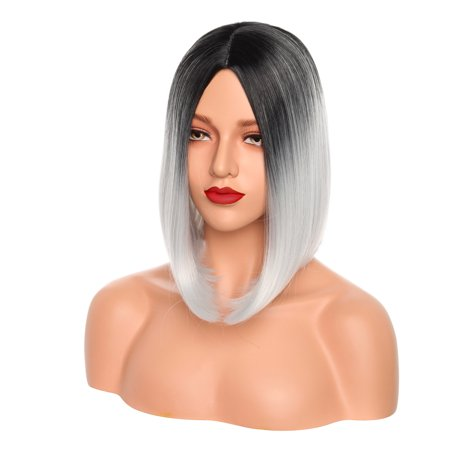 S-noilite 12 Inches Ombre Wigs Short Bob Hair Wigs Synthetic Cosplay Daily Party Wig for Women Natural Black ombre Sliver (Best Ombre Short Hair)