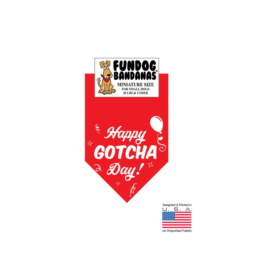 MINI Fun Dog Bandana - Happy Gotcha Day! - Miniature Size for Small Dogs under 20 lbs, red pet scarf